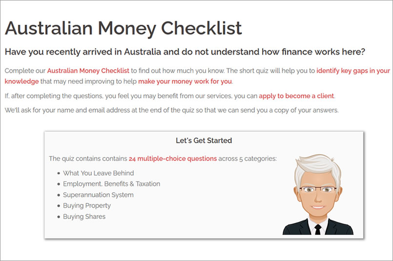 UK Migrants Australian Money Checklist Quiz: Screenshot showing the first page of the quiz.